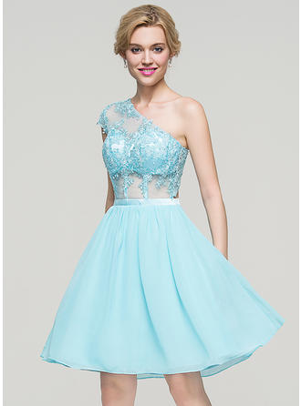A-Line/Princess One-Shoulder Chiffon Short Sleeves Knee-Length Homecoming Dresses