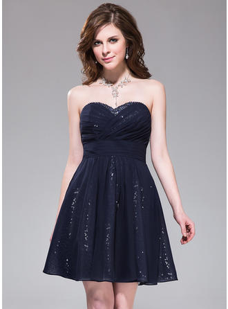 A-Line/Princess Sweetheart Short/Mini Chiffon Sequined Homecoming Dresses With Ruffle Beading