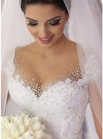 Elegant Court Train Ball-Gown Wedding Dresses V-neck Tulle Short Sleeves