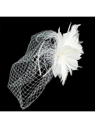 Beautiful Net Yarn/Feather Flowers & Feathers/Headbands