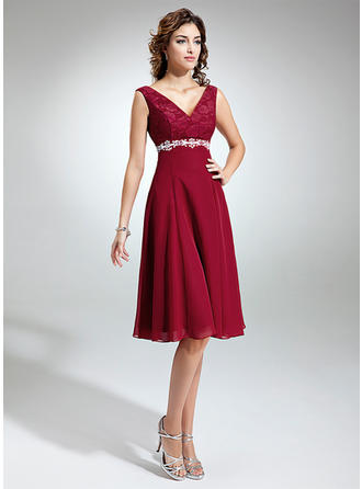 Empire V-neck Knee-Length Mother of the Bride Dresses With Sash Beading Bow(s)