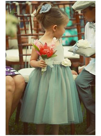 A-Line/Princess Square Neckline Tea-length With Flower(s) Satin/Tulle Flower Girl Dress