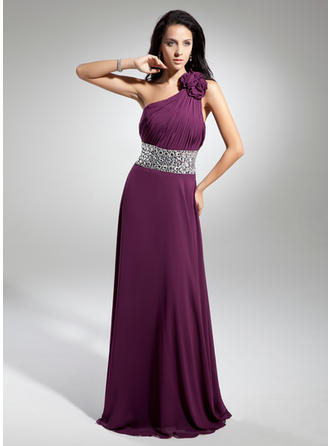 A-Line/Princess Chiffon One-Shoulder Sleeveless Evening Dresses