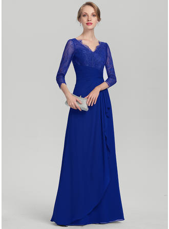 Chiffon Lace Evening Dresses With A-Line/Princess V-neck 3/4 Sleeves