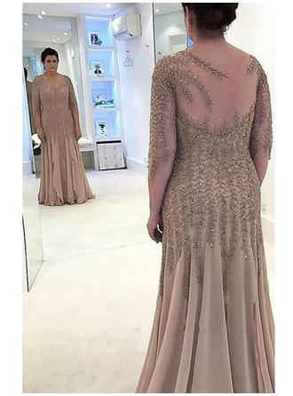 A-Line/Princess Chiffon 3/4 Sleeves Scoop Neck Floor-Length Zipper Up at Side Mother of the Bride Dresses