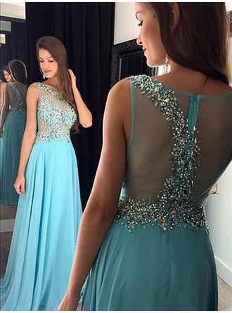 Chiffon Sleeveless A-Line/Princess Prom Dresses Beading Sequins Floor-Length