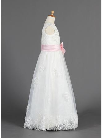 Aライン/プリンセスライン2 マキシレングス フラワーガールのドレス - オーガンザ/サテン 袖なし スクープネック とともに レース/サッシュ/ビーズ/弓 (010014657)