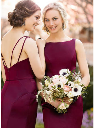 Sheath/Column Scoop Neck Sweep Train Satin Bridesmaid Dress