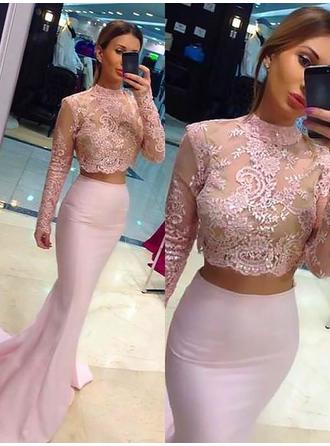 Charmeuse Long Sleeves Trumpet/Mermaid Prom Dresses High Neck Beading Sweep Train