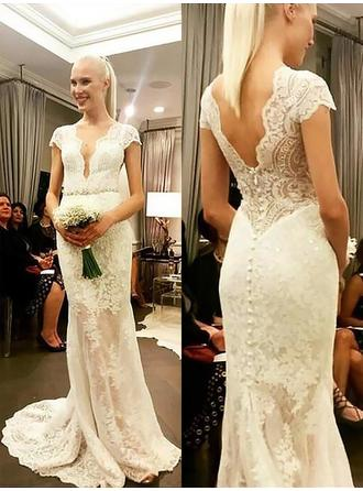 Elegant Lace Sheath/Column With Lace Wedding Dresses