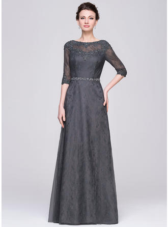 Tulle Lace 1/2 Sleeves Mother of the Bride Dresses Scoop Neck A-Line/Princess Beading Sequins Floor-Length
