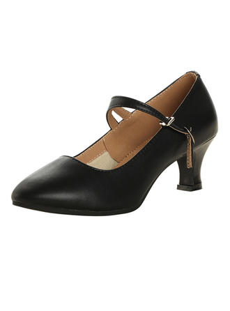 Women's Character Shoes Pumps Real Leather With Ankle Strap Dance Shoes