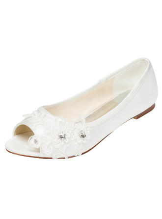 Women's Peep Toe Flat Heel Satin With Crystal Heel Crystal Wedding Shoes