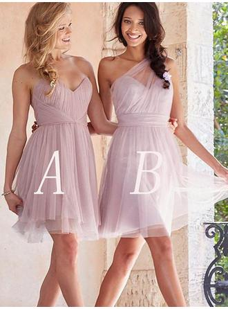 Tulle Sleeveless A-Line/Princess Bridesmaid Dresses Sweetheart Ruffle Short/Mini