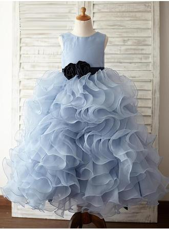 A-Line/Princess/Ball Gown Scoop Neck Floor-length With Ruffles/Sash/Flower(s) Organza/Satin Flower Girl Dress