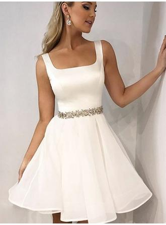 A-Line/Princess Square Neckline Short/Mini Homecoming Dresses With Beading (022216379)