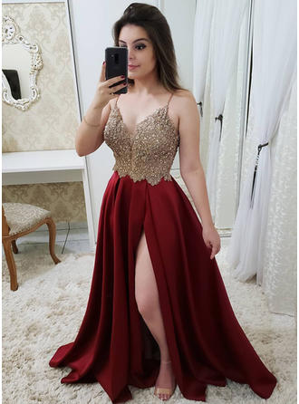Floor-Length A-Line/Princess Chic V-neck Satin Prom Dresses