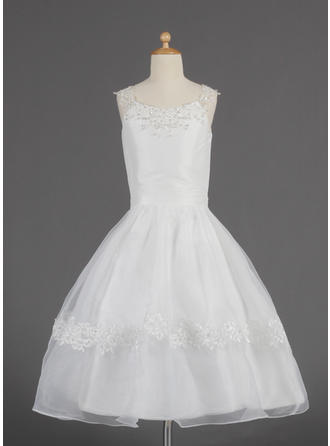 A-Line/Princess Scoop Neck Tea-length With Lace/Beading/Sequins Organza Flower Girl Dress