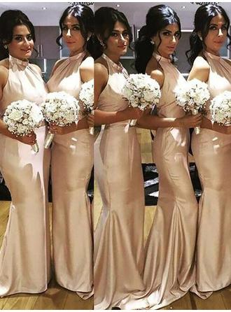 Floor-Length Halter Trumpet/Mermaid Satin Bridesmaid Dresses