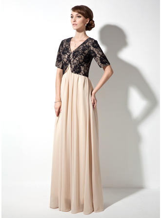 A-Line/Princess V-neck Chiffon Lace Short Sleeves Floor-Length Ruffle Mother of the Bride Dresses