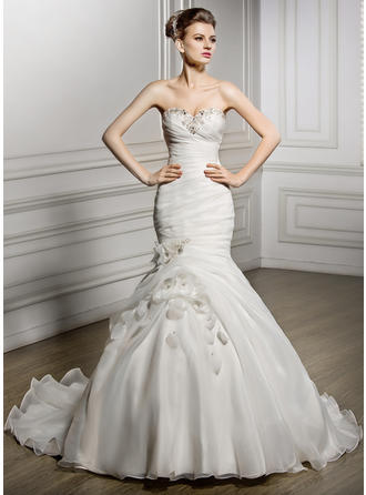 Sleeveless General Plus Sweetheart With Organza Wedding Dresses