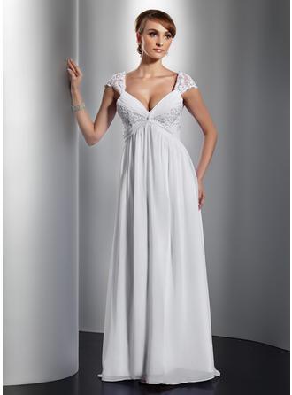 A-Line/Princess V-neck Sweep Train Chiffon Prom Dress With Ruffle Lace Beading