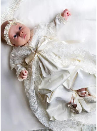 Satin Scoop Neck Lace Baby Girl's Christening Gowns With Long Sleeves