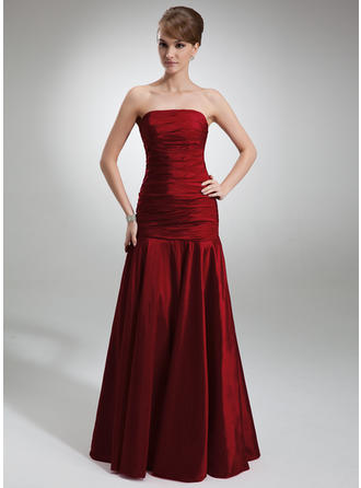 Taffeta Sleeveless Trumpet/Mermaid Bridesmaid Dresses Strapless Ruffle Floor-Length