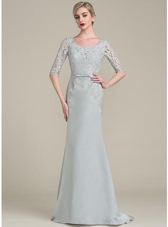 Trumpet/Mermaid Satin Lace 1/2 Sleeves Square Neckline Sweep Train Zipper Up Mother of the Bride Dresses