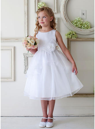 A-Line/Princess Scoop Neck Tea-length Satin/Tulle Sleeveless Flower Girl Dresses