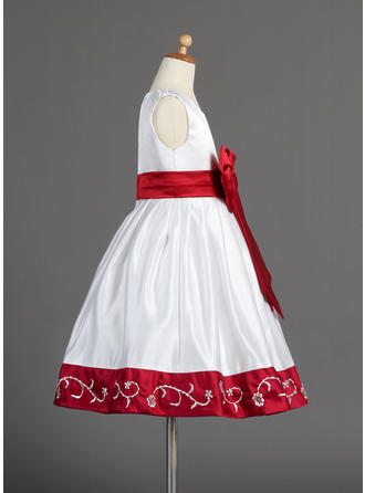Modern Aライン/プリンセスライン2 サッシュ/ビーズ/弓 袖なし サテン フラワーガールドレス (010014596)