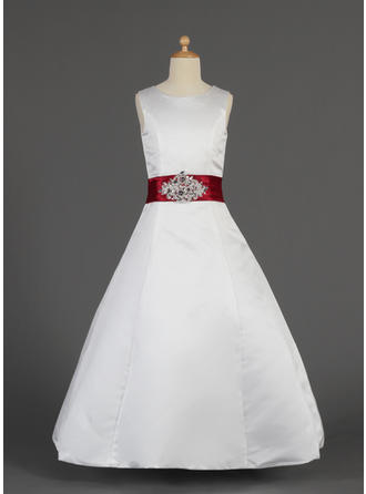 A-Line/Princess Scoop Neck Floor-length With Lace/Sash/Beading Satin Flower Girl Dress