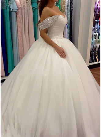 2019 New Sweep Train Sleeveless Tulle Wedding Dresses