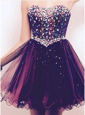 Tulle Sleeveless Short/Mini Sweetheart Homecoming Dresses