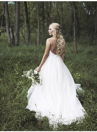 A-Line/Princess Deep V Neck Court Train Wedding Dress