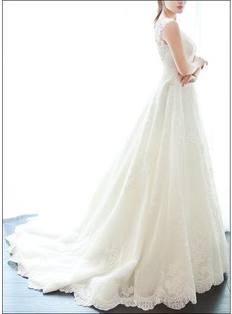 A-Line/Princess V-neck Court Train Wedding Dress With Lace Appliques Lace
