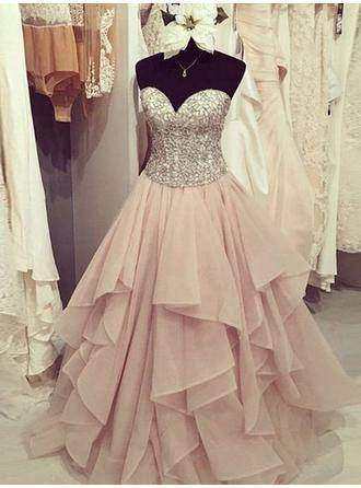 Ball-Gown Sweetheart Floor-Length Organza Prom Dress With Ruffle Beading Appliques Lace