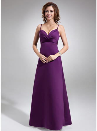 Satin Sleeveless Empire Bridesmaid Dresses Ruffle Floor-Length
