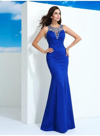 Sleeveless Sheath/Column Prom Dresses Beading Floor-Length