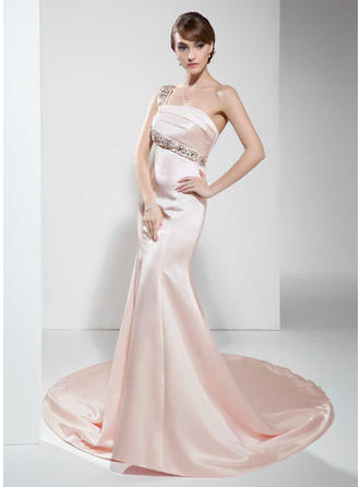 One-Shoulder Satin Chapel Train Evening Dresses Sleeveless