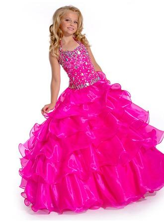 Ball Gown Halter Floor-length With Beading Organza Flower Girl Dresses