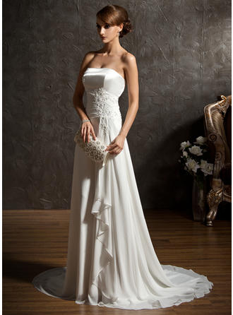 A-Line/Princess Sweep Train Wedding Dress With Beading Appliques Lace Sequins Cascading Ruffles