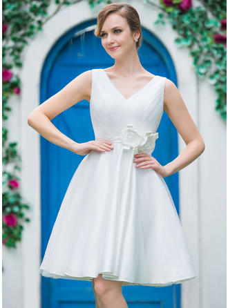 Sweetheart A-Line/Princess Wedding Dresses Tulle Ruffle Flower(s) Sleeveless Knee-Length