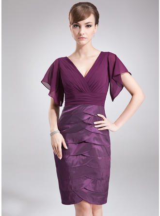 Cascading Ruffles V-neck Modern Chiffon Taffeta Mother of the Bride Dresses