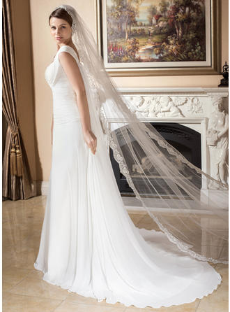 Cathedral Bridal Veils Tulle One-tier Drop Veil/Rectangular With Lace Applique Edge Wedding Veils