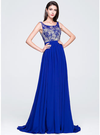 Chiffon Sleeveless A-Line/Princess Prom Dresses Scoop Neck Beading Sequins Court Train