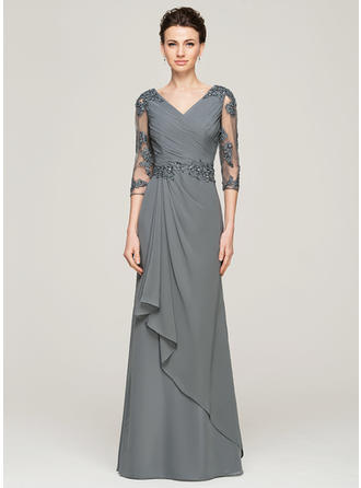 A-Line/Princess V-neck Floor-Length Chiffon Mother of the Bride Dress With Beading Appliques Lace Sequins Cascading Ruffles (008062572)