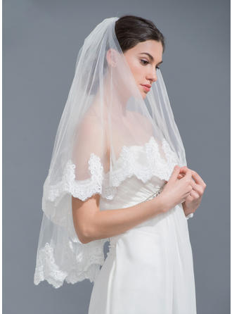 Two-tier Lace Applique Edge Elbow Bridal Veils With Applique (006115465)
