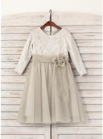 Forme Princesse Longueur mollet Robes à Fleurs pour Filles - Tulle/Dentelle Manches longues Col rond avec Fleur(s)