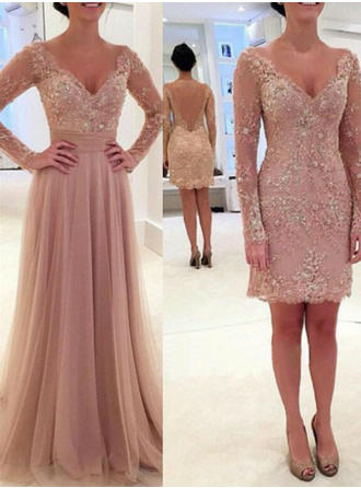 A-Line/Princess V-neck Tulle Long Sleeves Floor-Length Beading Sequins Evening Dresses